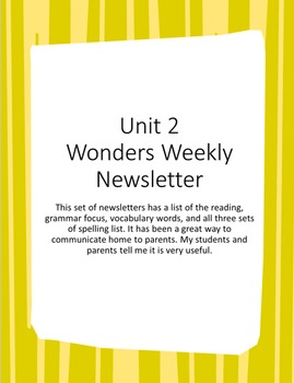 Unit 2 Wonders Weekly Newsletter