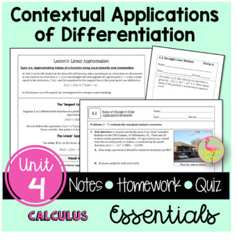 Calculus: Applications of Differentiation Guided Notes & H