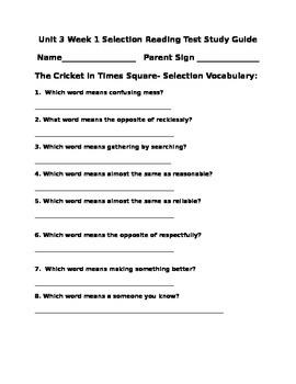 Unit 3 Grade 4 Wonders Selection Test Study Guide