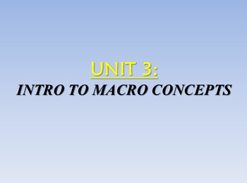 Unit 3: Intro to Basic Macro Concepts Lecture