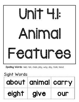 Unit 4.1: Animal Features Graphic Organizers & Activities