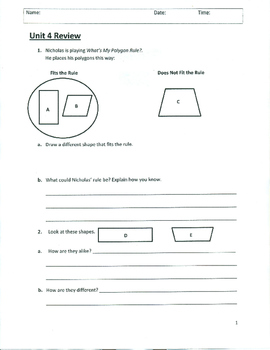 Unit 4 Review - Grade 3 Everyday Mathematics (Edition 4)
