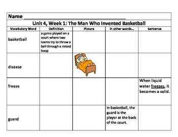 Unit 4 Vocabulary Charts for 3rd Grade Reading Street Comm