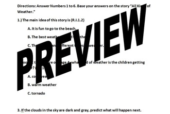 Unit 4 Week 3 All Kinds of Weather FCAT Weekly test COMMON