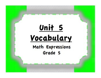 Unit 5 Fractions, Operations, Probability Vocabulary (Math