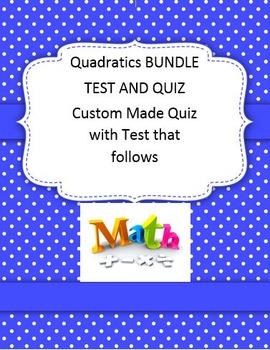 Unit 5 Quadratics Custom Made Quiz and Test Algebra 2 Math