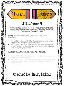 Reading Wonders Unit 5 Week 4 Pencil Pairs ***with 72 BONU