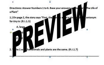 Unit 5 Week 5 The Life of a Plant FCAT Weekly test COMMON