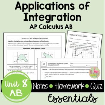Calculus: Applications of Integration Notes & Homework Bundle