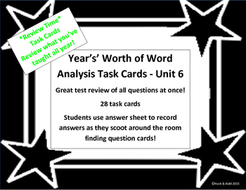 Unit 6 Task Cards - Year's Worth - Reading Review
