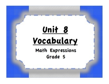 Unit 8 Order of Operations/Coordinate Plane Vocabulary (Ma