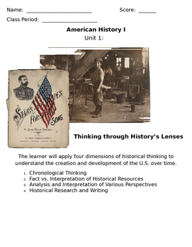 Unit Booklet - Unit 1: Historical Thinking