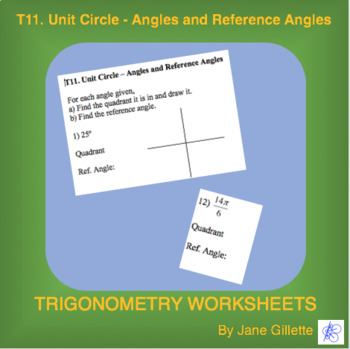 Unit Circle – Angles and Reference Angles