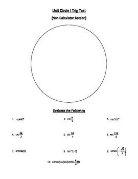 Unit Circle Trig Test
