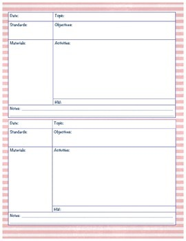 Lesson Plan Template - PDF Document, Pink Stripe and Navy