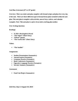 Unit Plan-To Kill a Mockingbird