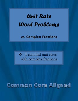 Worksheets Unit Rate Word Problems With Answers unit rate word problems w complex fractions by mrpooler common core