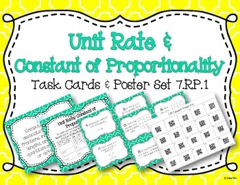 Unit Rate/Constant of Proportionality Task Card and Poster
