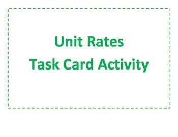Unit Rates Task Cards Activity