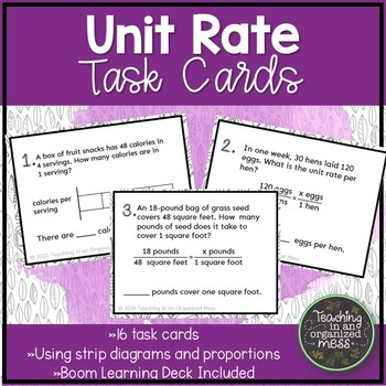 Unit Rates Task Cards: Using strip diagrams and scale factors
