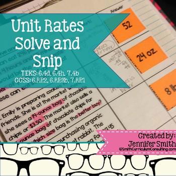 Unit Rates Word Problems Solve and Snip- Common Core & TEKS