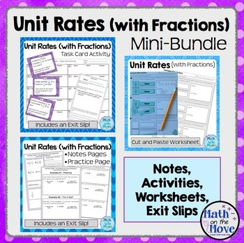 Unit Rates with Fractions - Mini Bundle (Notes, Worksheets