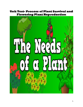 Unit Test- Processes of Plant Reproduction and Survival