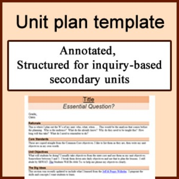 Unit plan template for secondary teachers, inquiry-based,