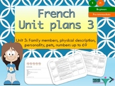French Unit plans beginners Unit 3 Ma famille , my family