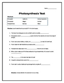 Unit test: Photosynthesis