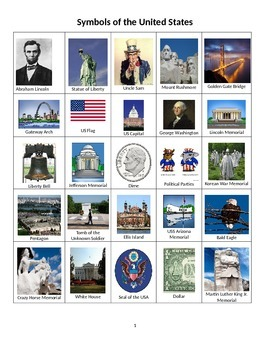 United States Bingo - Learn Popular Symbols, Monuments and