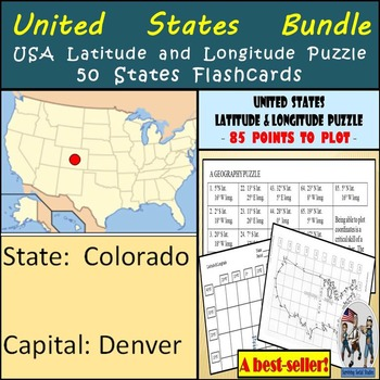 United States Bundle - 50 States Flashcards & USA Latitude