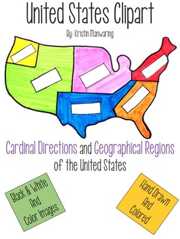 United States Clipart - Geographic Regions and Cardinal Di