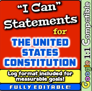"""United States Constitution """"I Can"""" Statements & Learning G"""