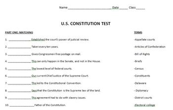 United States Constitution Test w/answer key