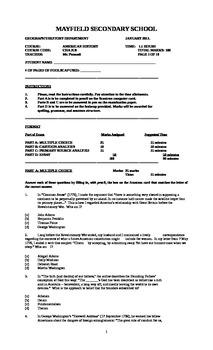 United States History Final Exam (Ontario/ University Leve
