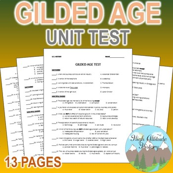 Gilded Age Unit Test / Exam / Assessment (U.S. History)