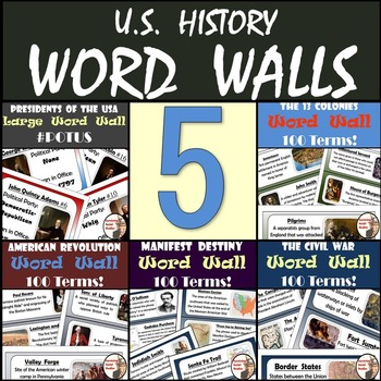 United States History Word Walls 5-Pack