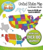 United States Map Clipart — Includes States, Regions, and