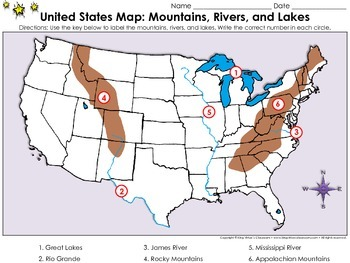 United States Map: Mountains, Rivers, and Lakes - Locate P
