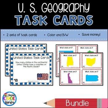 United States Mapping Task Cards - Bundle