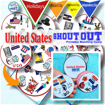 """United States Matching Game SHOUT OUT; 31 Printable 3"""" Cards"""