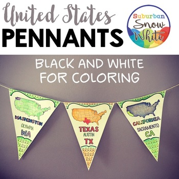 United States Pennants with States, Capitals, Abbreviation
