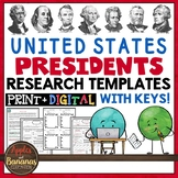 US Presidents Packet: Research Templates with Answer Keys