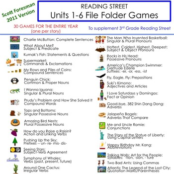 Units 1-6 File Folder Games: 3rd Grade Reading Street (2011)