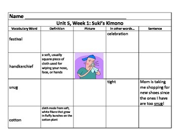Units 5/6 Vocab Charts for 3rd Grade Reading Street Common