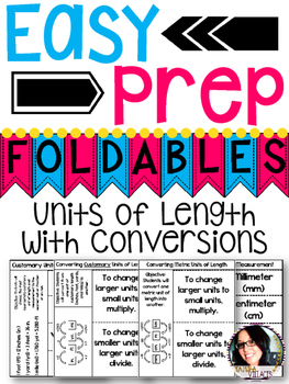 Units of Length with Conversions Foldables for Math Notebo