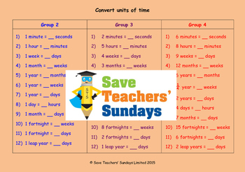 Units of time lesson plans, worksheets and more (2nd to 4t