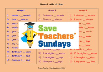 Converting Units of Time Worksheets (3 levels of difficulty)