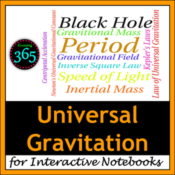 Universal Gravitation Vocabulary for Interactive Notebooks